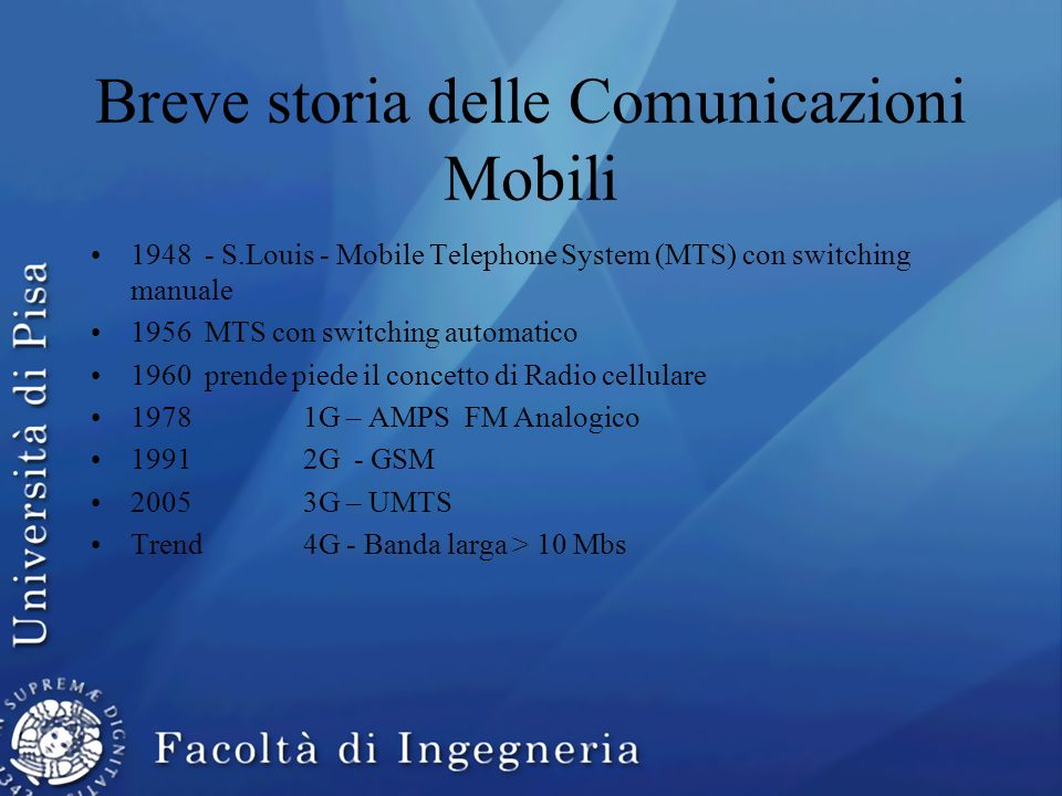 Breve storia delle Comunicazioni Mobili
