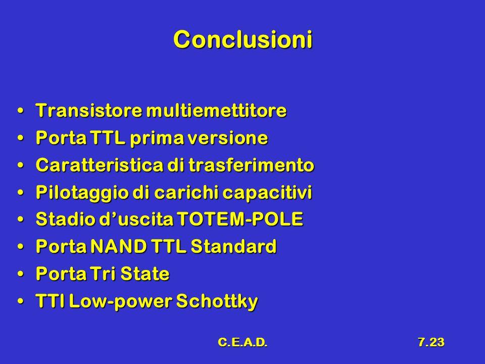 Conclusioni Transistore multiemettitore Porta TTL prima versione