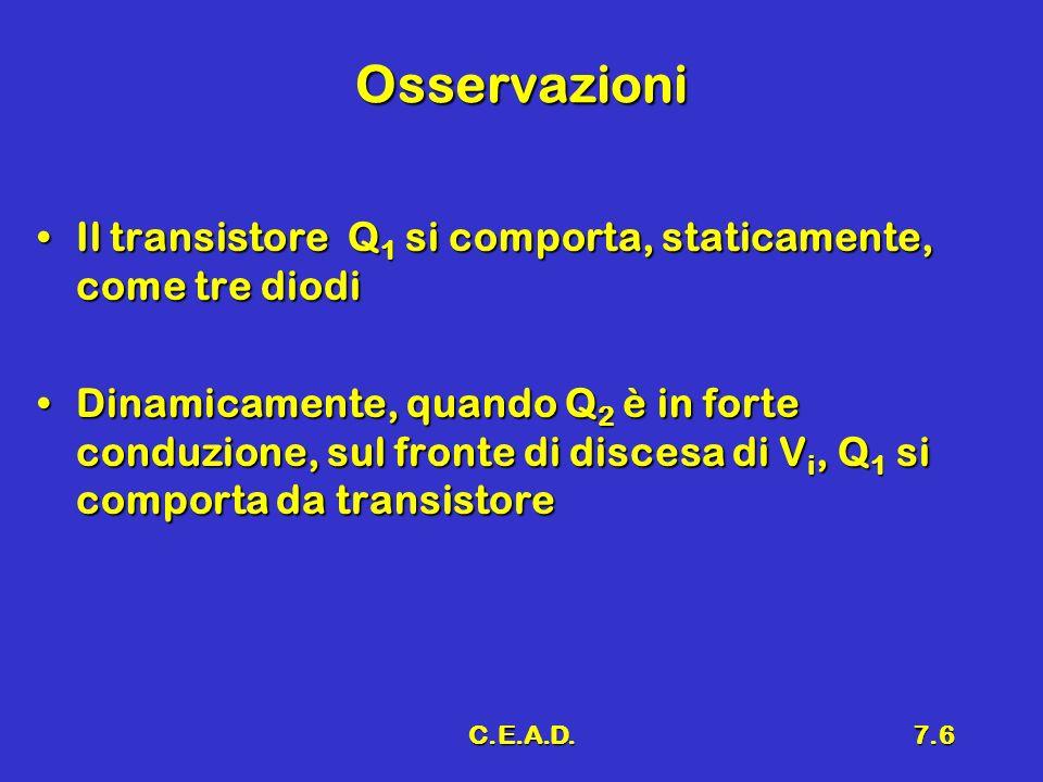 Osservazioni Il transistore Q1 si comporta, staticamente, come tre diodi.