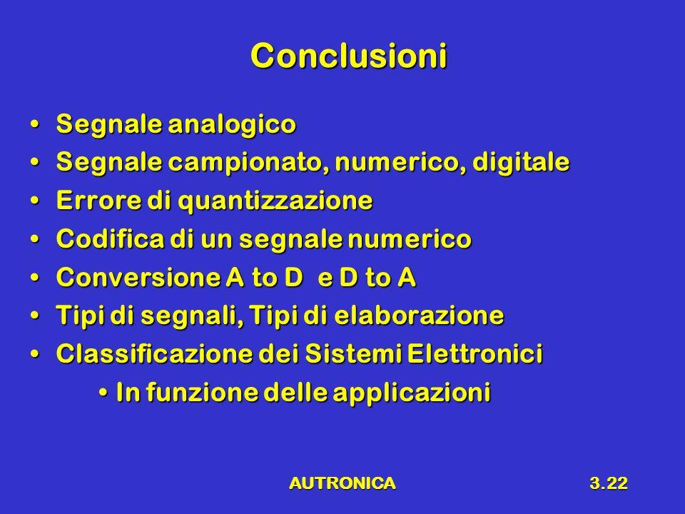 Conclusioni Segnale analogico Segnale campionato, numerico, digitale