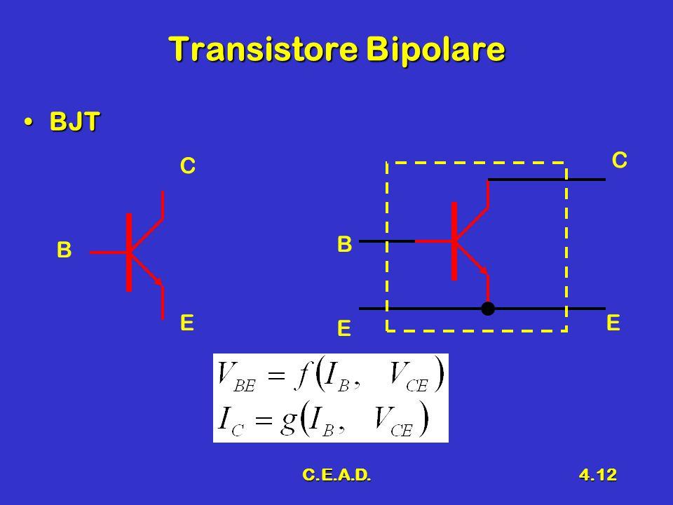 Transistore Bipolare BJT C C B B E E E C.E.A.D.