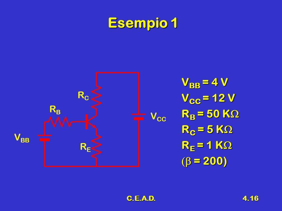 Esempio 1 VBB = 4 V VCC = 12 V RB = 50 KW RC = 5 KW RE = 1 KW
