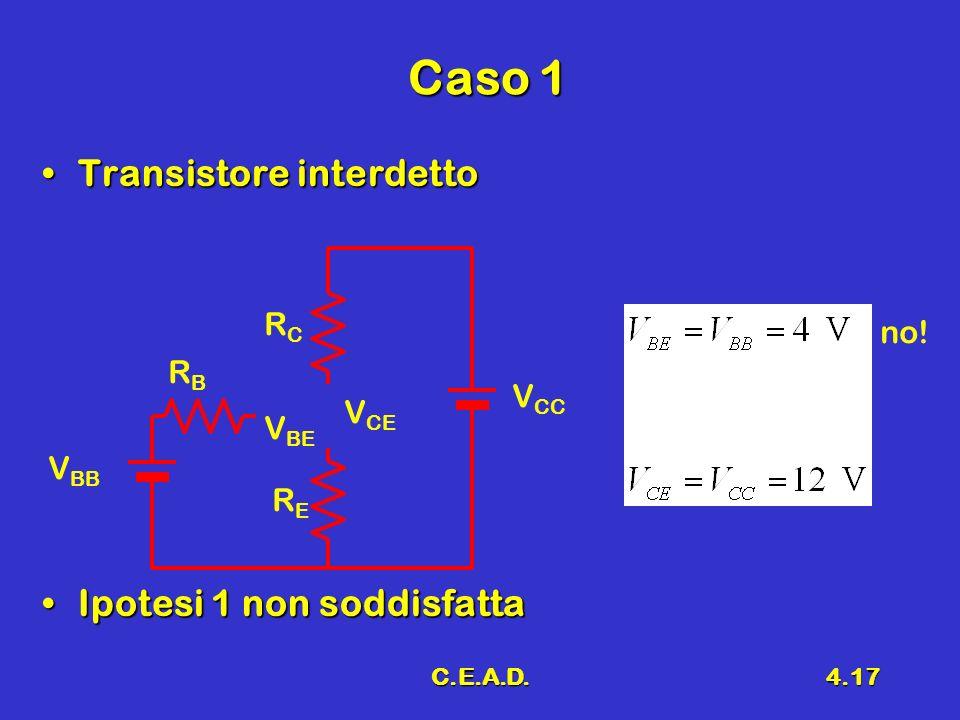 Caso 1 Transistore interdetto Ipotesi 1 non soddisfatta RC no! RB VCC