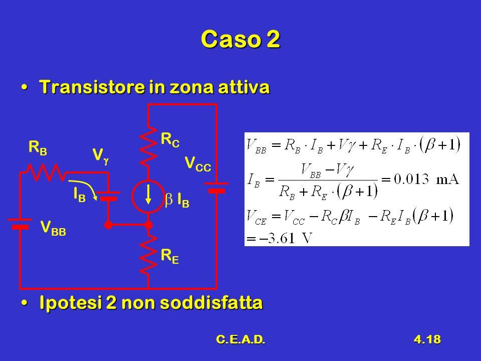 Caso 2 Transistore in zona attiva Ipotesi 2 non soddisfatta RC RB Vg