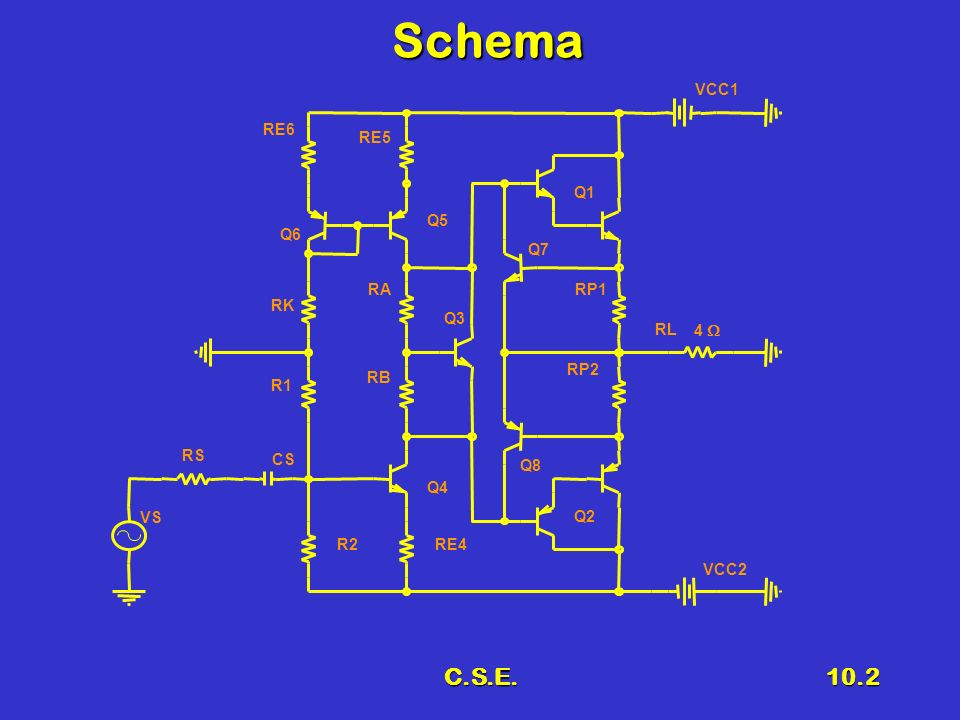 Schema C.S.E. VCC1 RE6 RE5 Q1 Q5 Q6 Q7 RA RP1 RK Q3 RL 4  RP2 RB R1