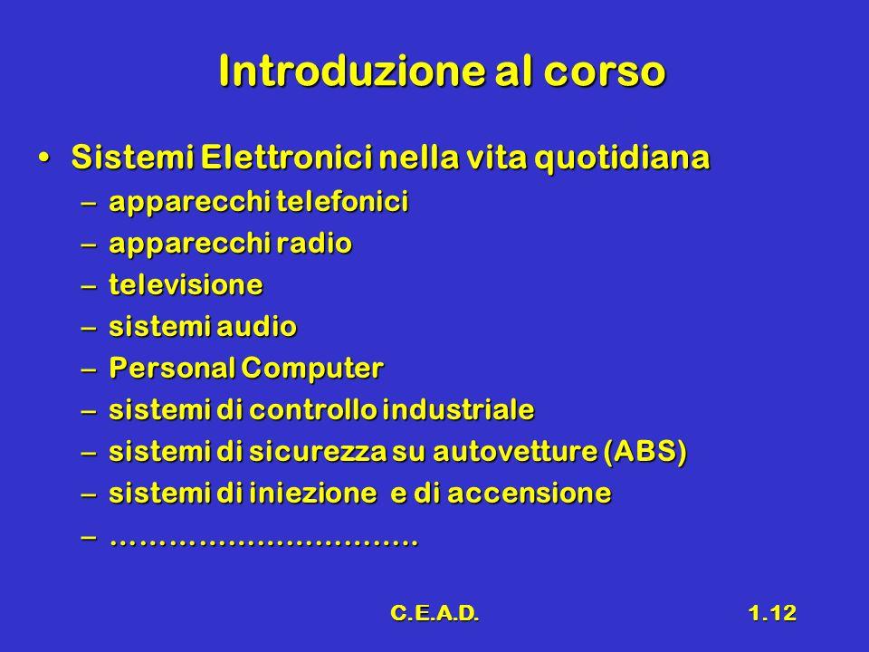 Introduzione al corso Sistemi Elettronici nella vita quotidiana