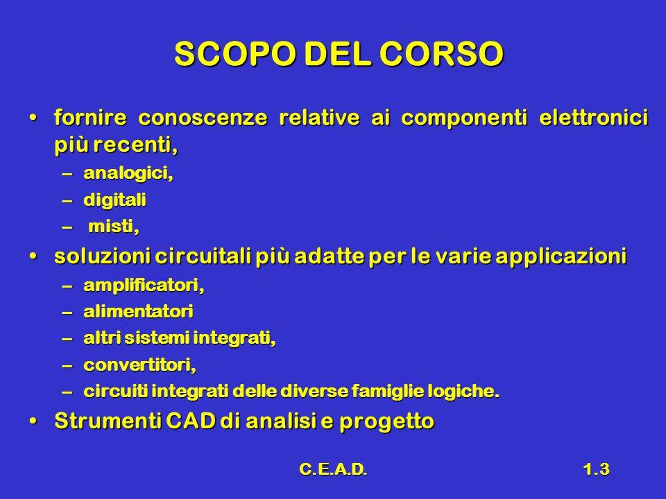 SCOPO DEL CORSO fornire conoscenze relative ai componenti elettronici più recenti, analogici, digitali.