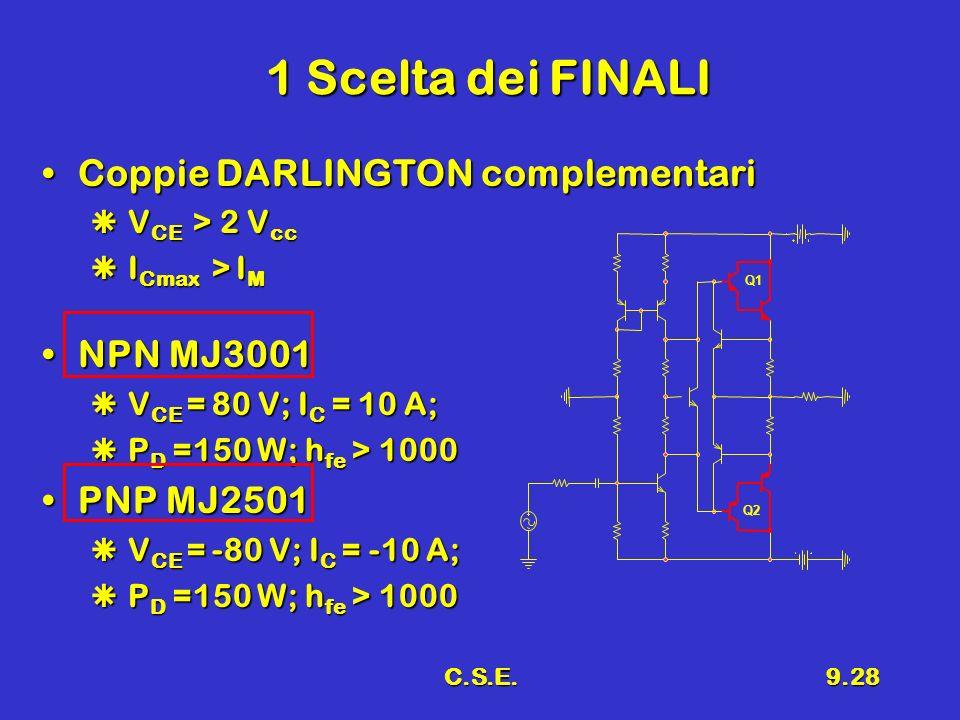 1 Scelta dei FINALI Coppie DARLINGTON complementari NPN MJ3001