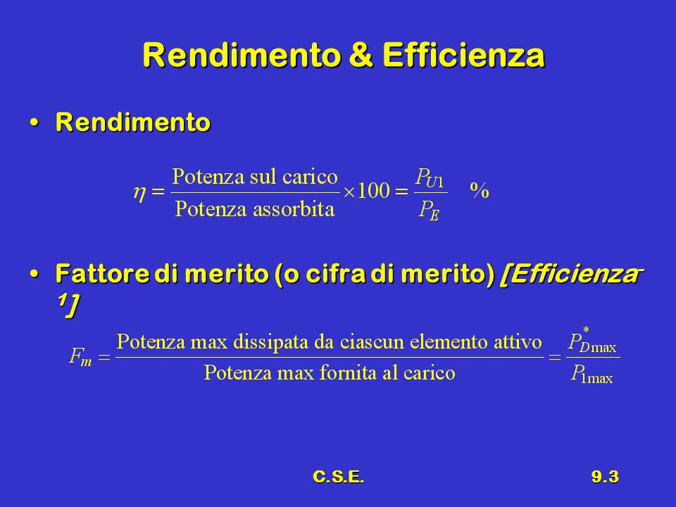 Rendimento & Efficienza