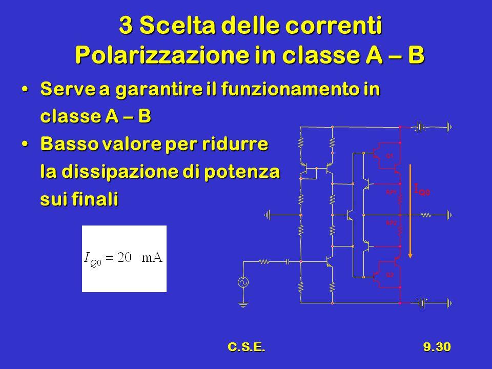 3 Scelta delle correnti Polarizzazione in classe A – B