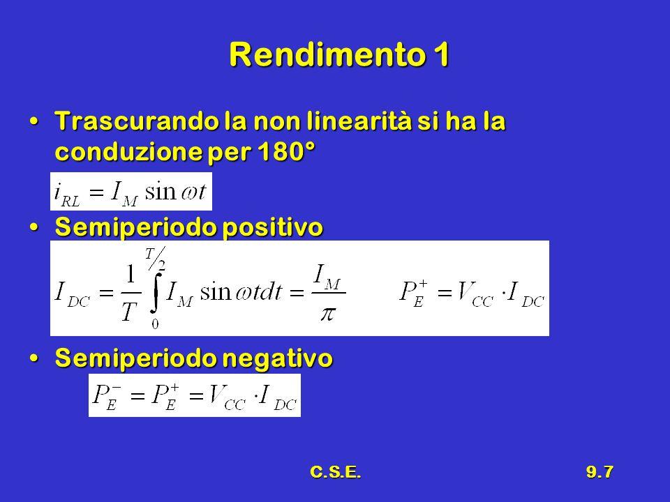 Rendimento 1 Trascurando la non linearità si ha la conduzione per 180°