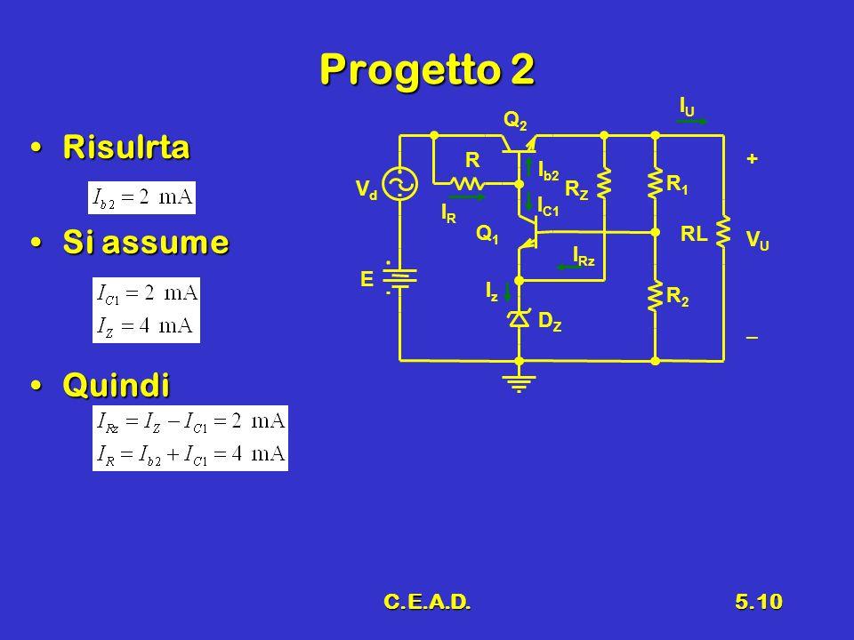 Progetto 2 Risulrta Si assume Quindi C.E.A.D. IU R2 Vd R1 Q2 E RL R Q1