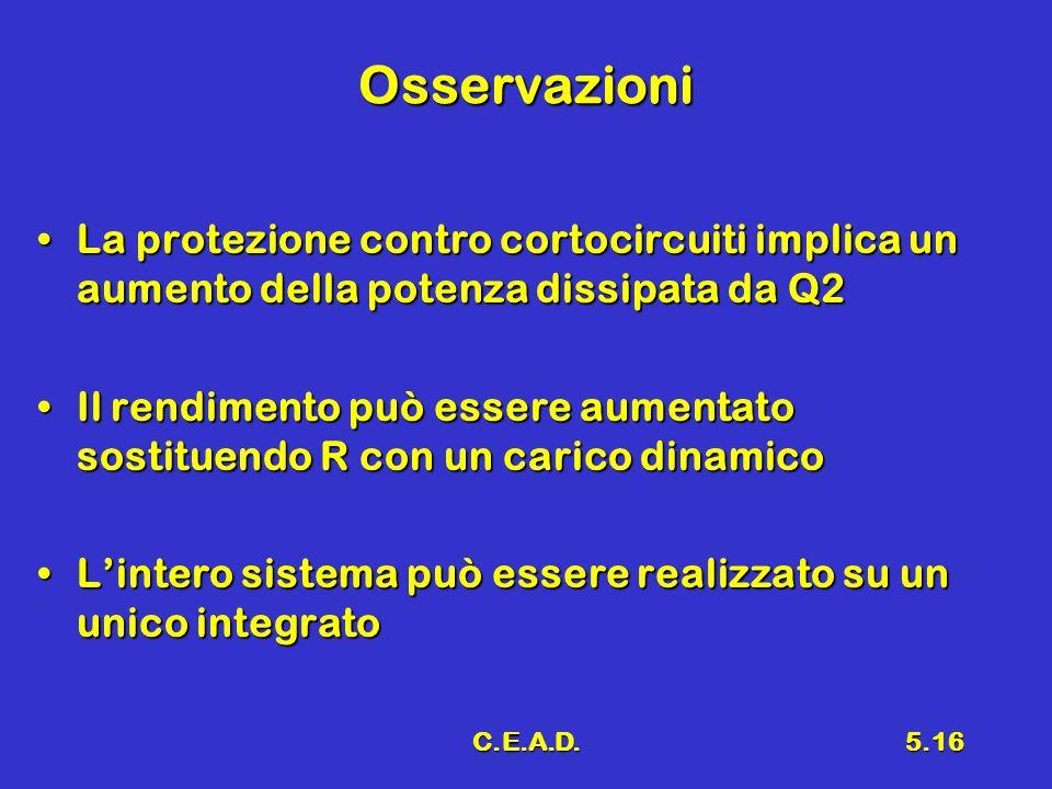 Osservazioni La protezione contro cortocircuiti implica un aumento della potenza dissipata da Q2.