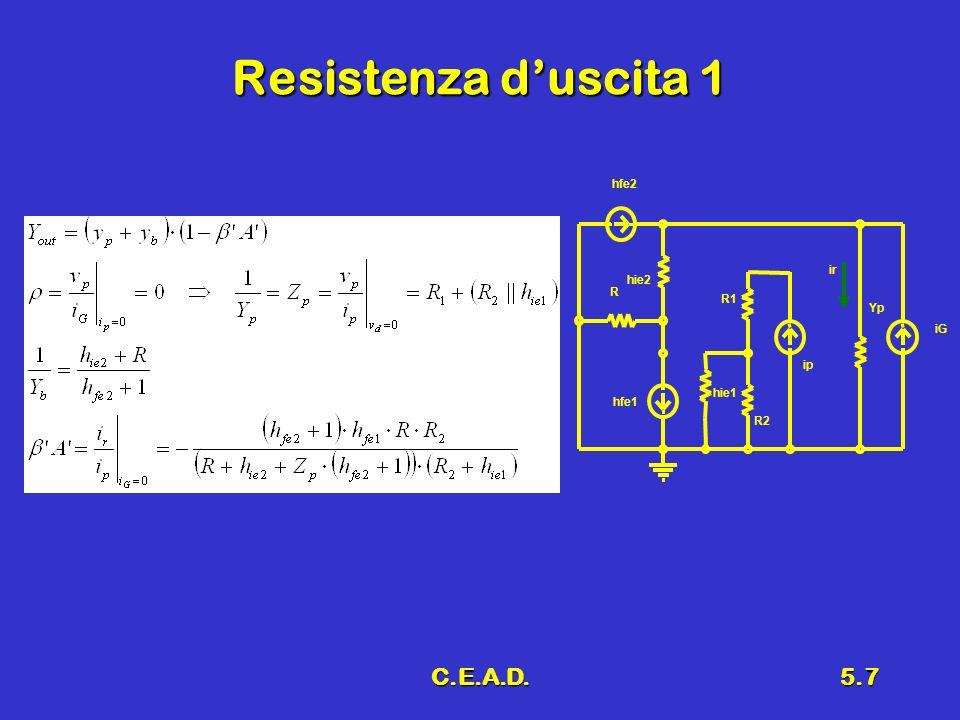 Resistenza d'uscita 1 R1 R2 hfe2 hie2 R hfe1 hie1 Yp ip iG ir C.E.A.D.