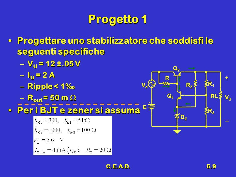 Progetto 1Progettare uno stabilizzatore che soddisfi le seguenti specifiche. VU = 12 ±.05 V. IU = 2 A.