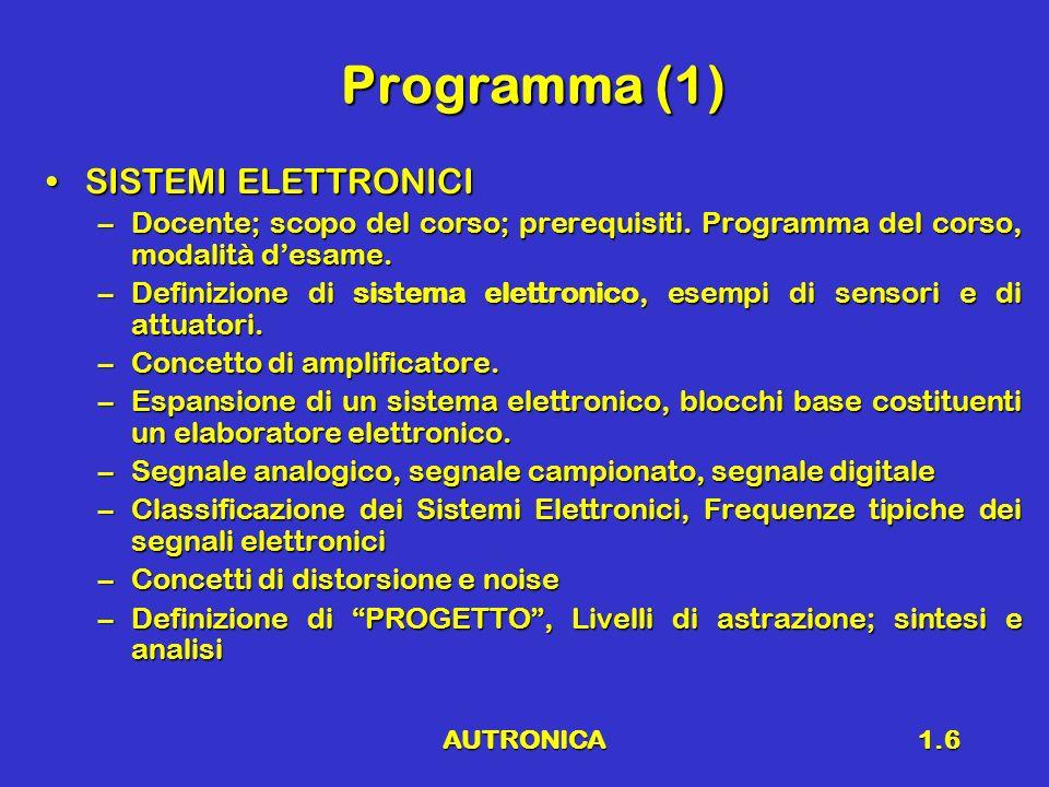 Programma (1) SISTEMI ELETTRONICI