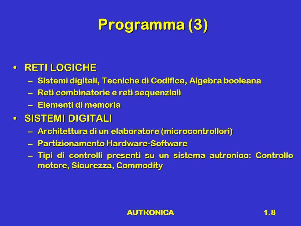 Programma (3) RETI LOGICHE SISTEMI DIGITALI
