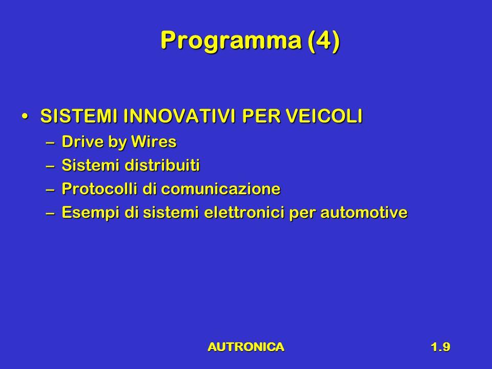 Programma (4) SISTEMI INNOVATIVI PER VEICOLI Drive by Wires