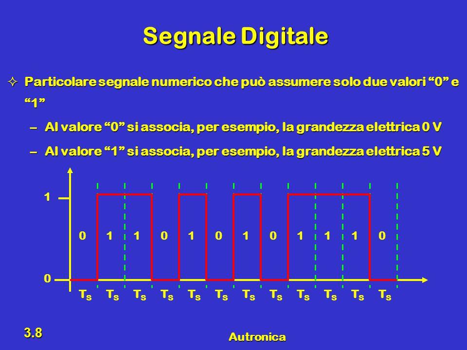Segnale Digitale Particolare segnale numerico che può assumere solo due valori 0 e 1