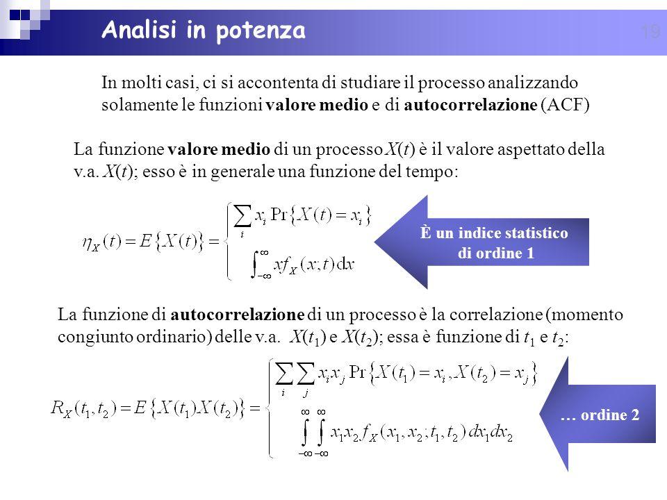 Analisi in potenza In molti casi, ci si accontenta di studiare il processo analizzando solamente le funzioni valore medio e di autocorrelazione (ACF)
