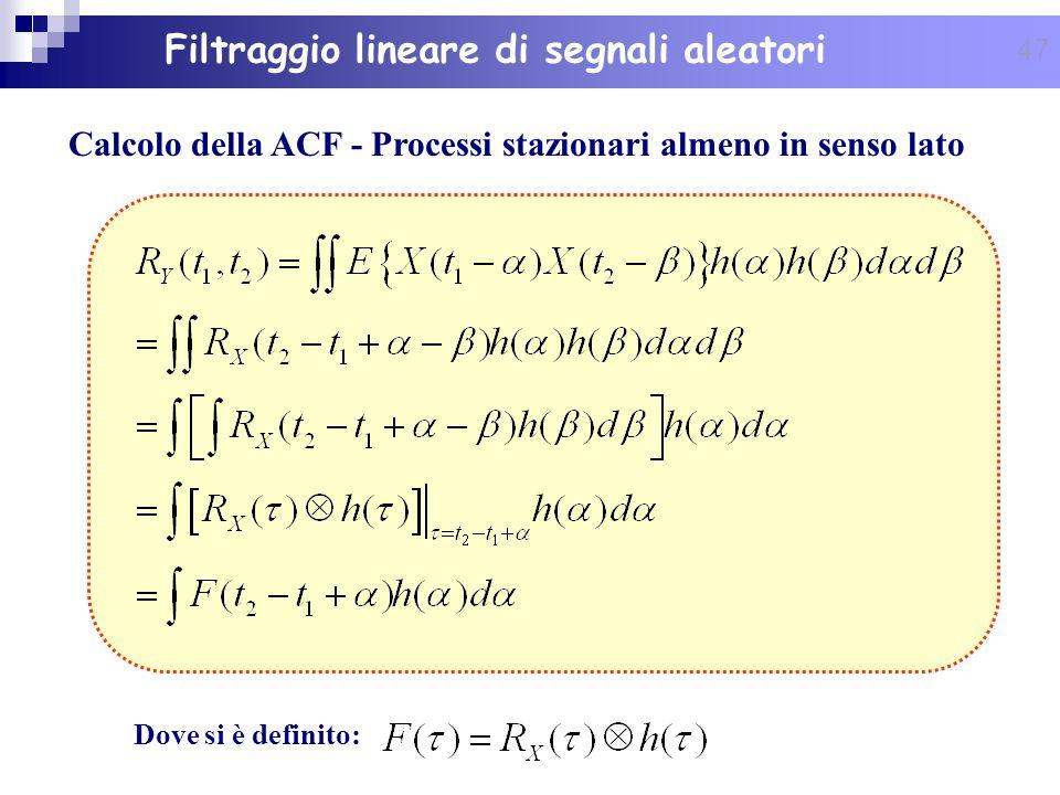 Calcolo della ACF - Processi stazionari almeno in senso lato