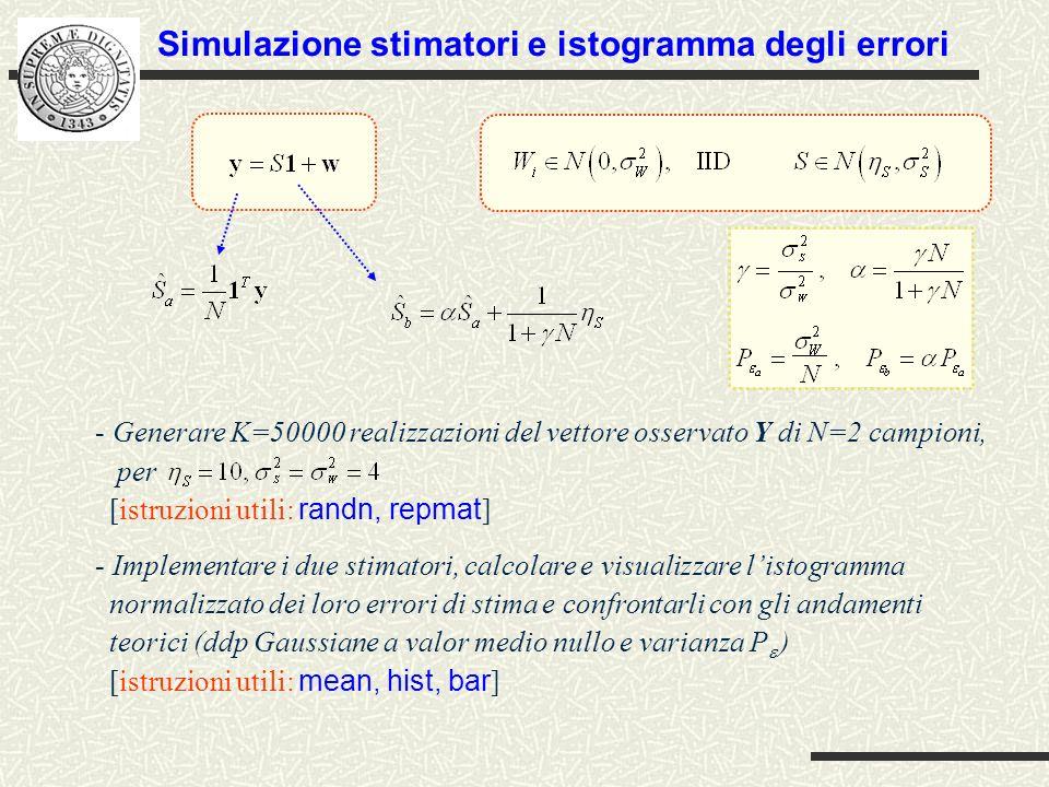 Simulazione stimatori e istogramma degli errori