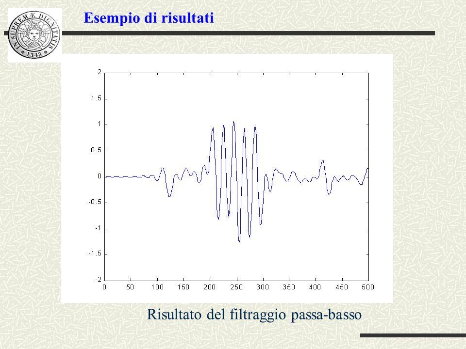 Esempio di risultati Risultato del filtraggio passa-basso