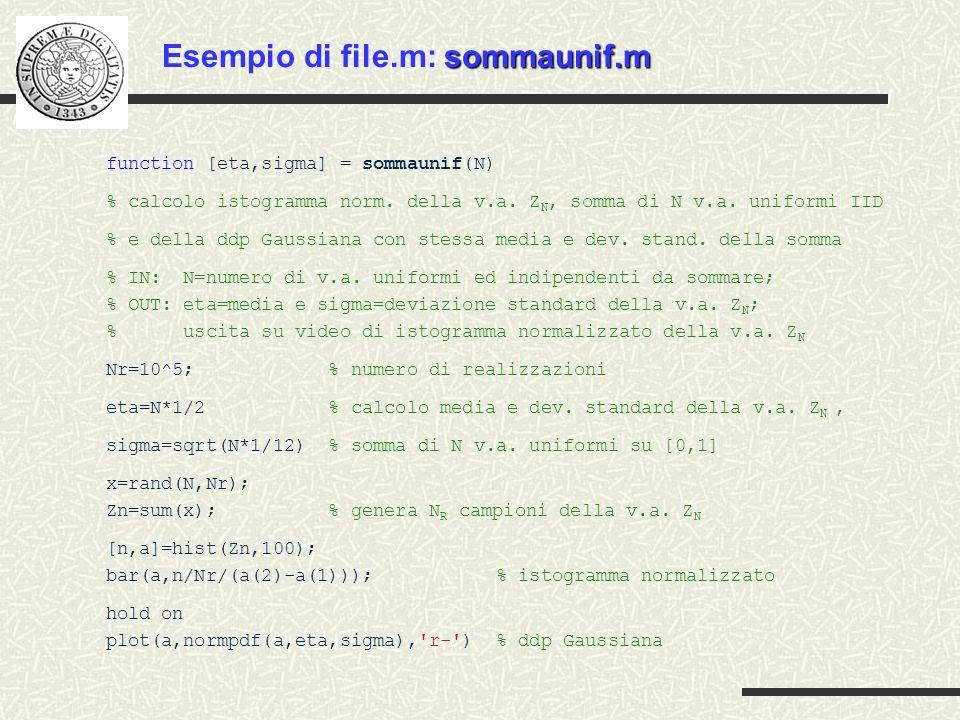 Esempio di file.m: sommaunif.m