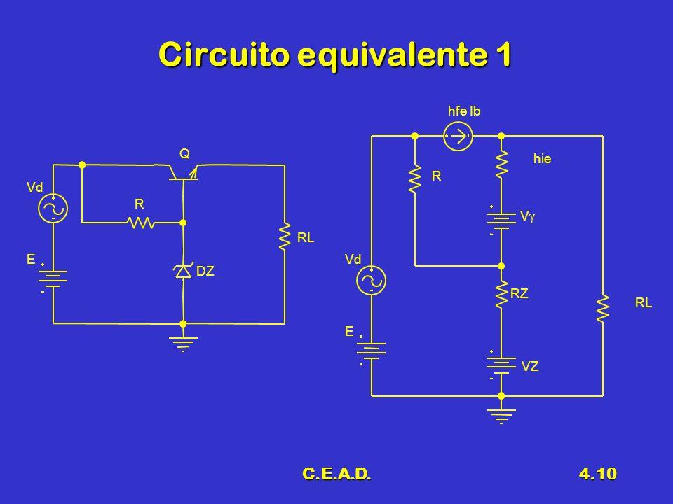 Circuito equivalente 1 C.E.A.D. hfe Ib Q hie R Vd R V RL E Vd DZ RZ