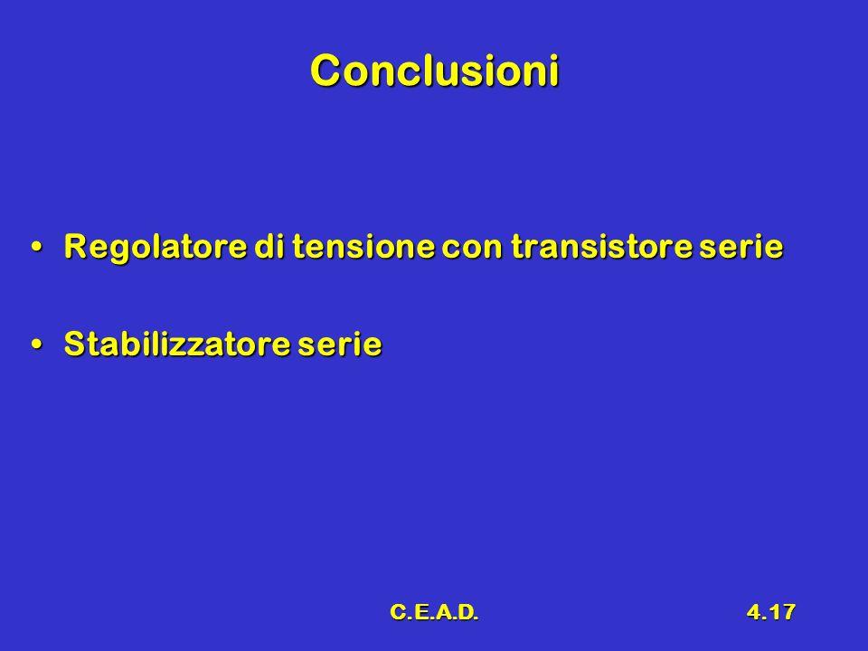 Conclusioni Regolatore di tensione con transistore serie