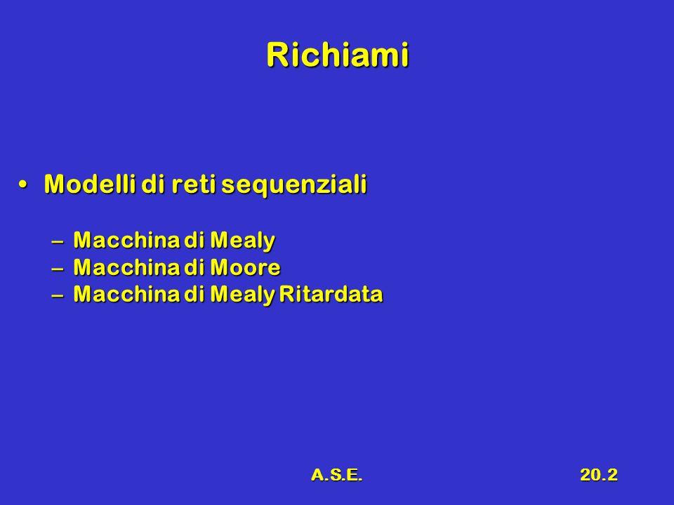 Richiami Modelli di reti sequenziali Macchina di Mealy