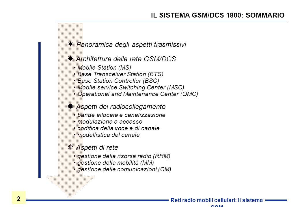 IL SISTEMA GSM/DCS 1800: SOMMARIO