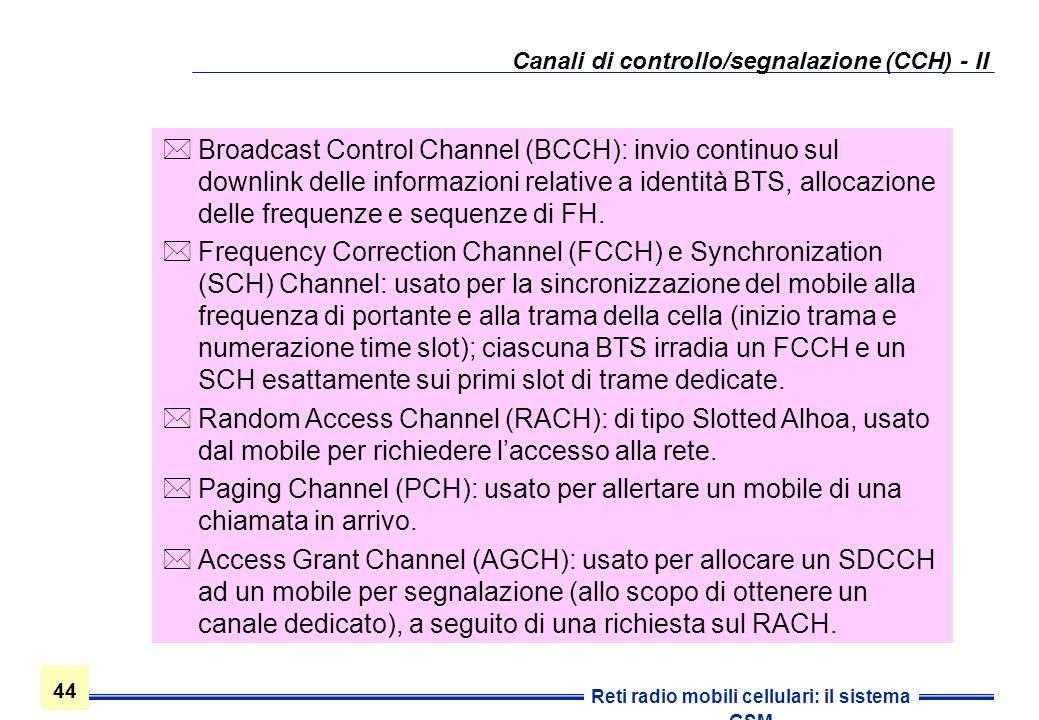 Canali di controllo/segnalazione (CCH) - II