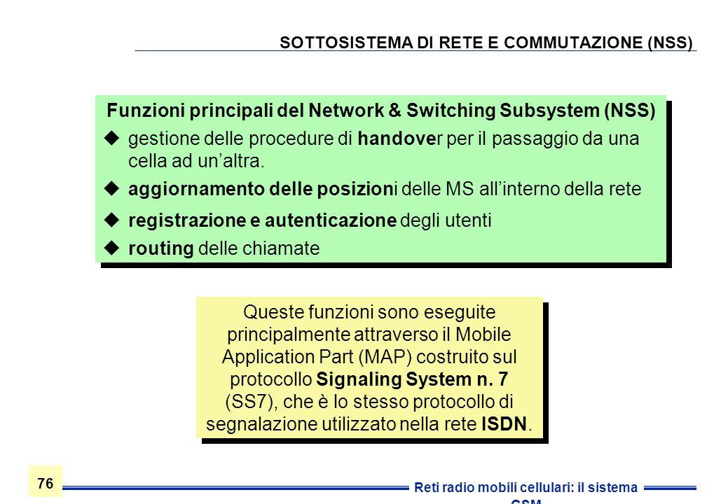 SOTTOSISTEMA DI RETE E COMMUTAZIONE (NSS)