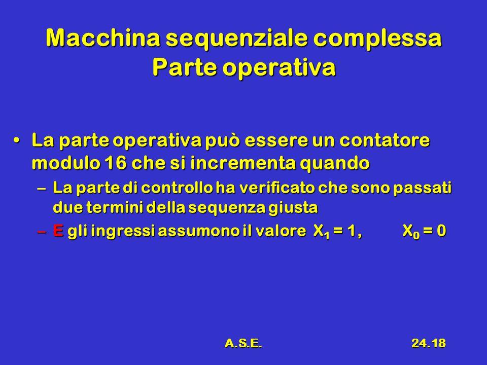 Macchina sequenziale complessa Parte operativa