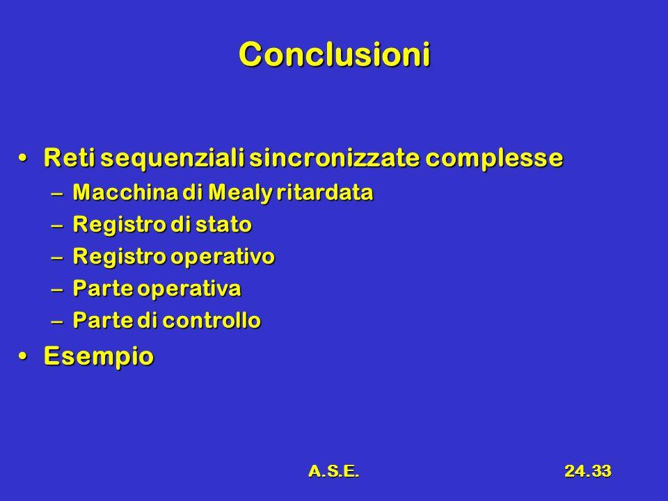 Conclusioni Reti sequenziali sincronizzate complesse Esempio