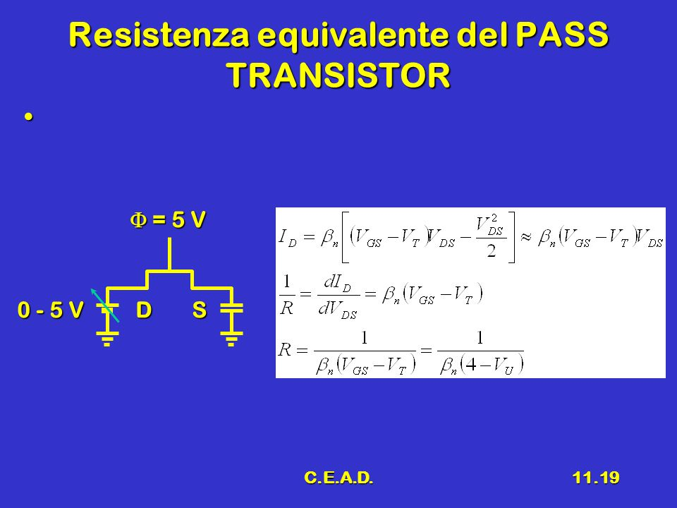 Resistenza equivalente del PASS TRANSISTOR
