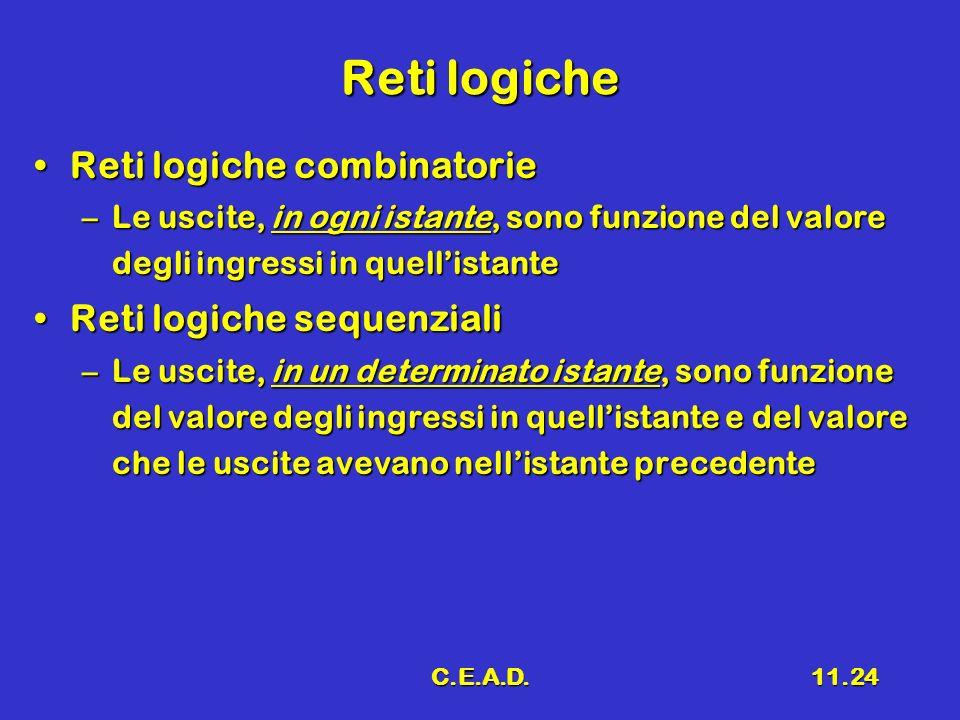 Reti logiche Reti logiche combinatorie Reti logiche sequenziali