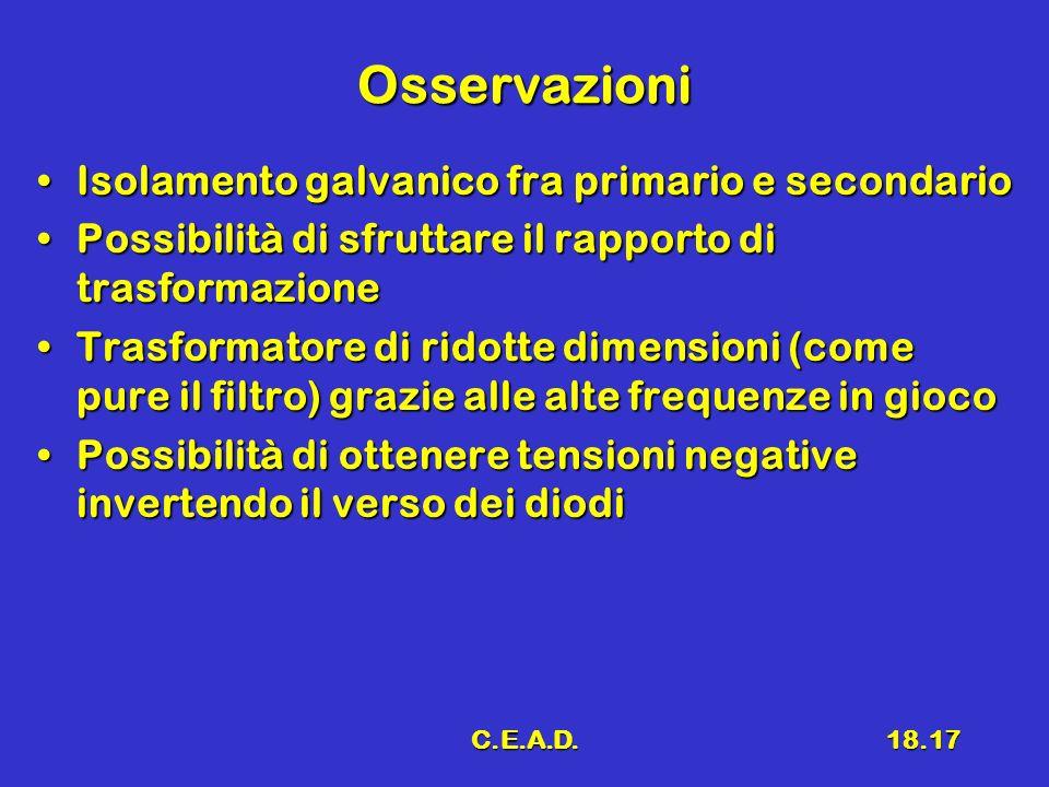 Osservazioni Isolamento galvanico fra primario e secondario