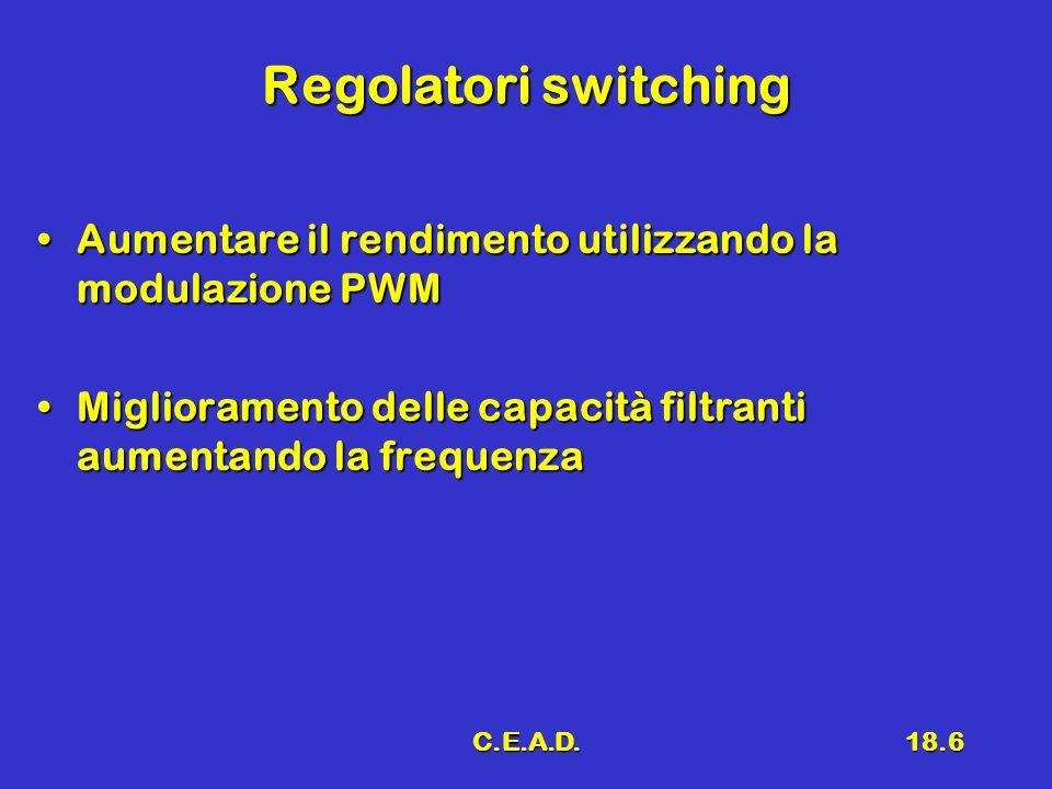 Regolatori switching Aumentare il rendimento utilizzando la modulazione PWM. Miglioramento delle capacità filtranti aumentando la frequenza.