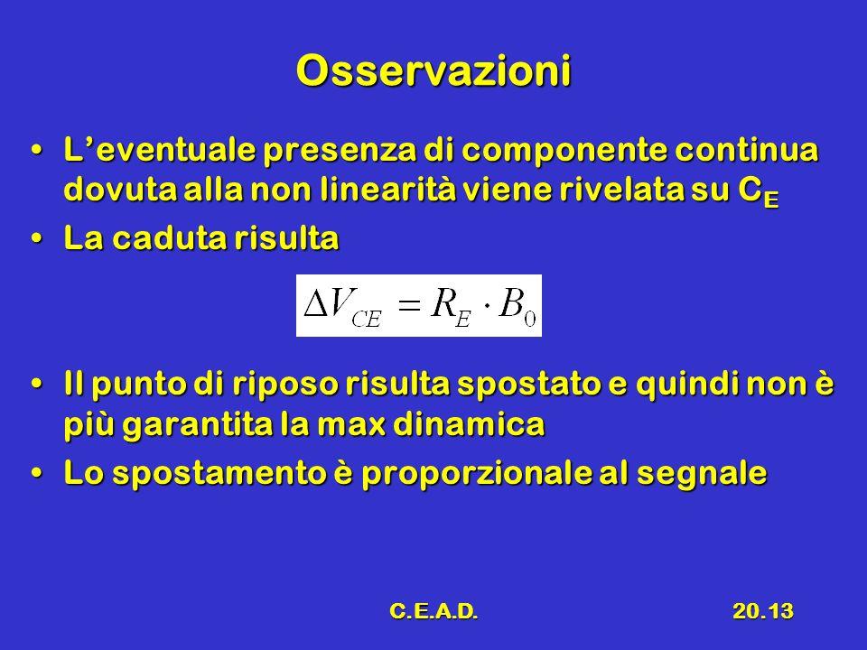 Osservazioni L'eventuale presenza di componente continua dovuta alla non linearità viene rivelata su CE.