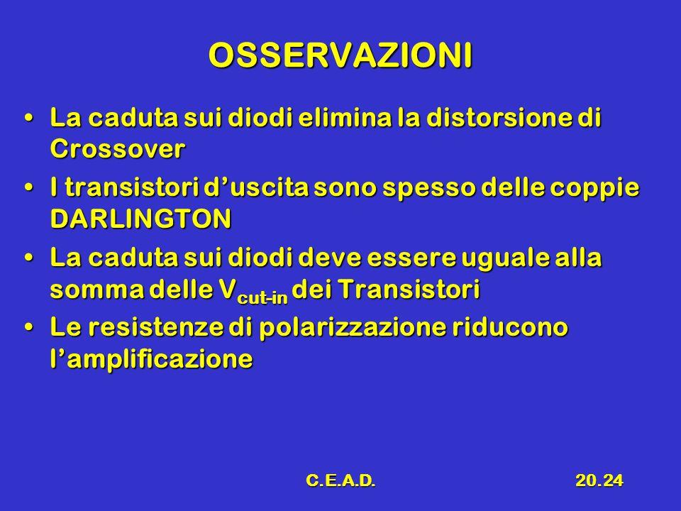 OSSERVAZIONI La caduta sui diodi elimina la distorsione di Crossover