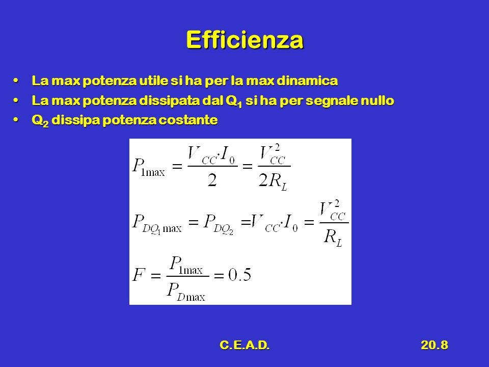 Efficienza La max potenza utile si ha per la max dinamica
