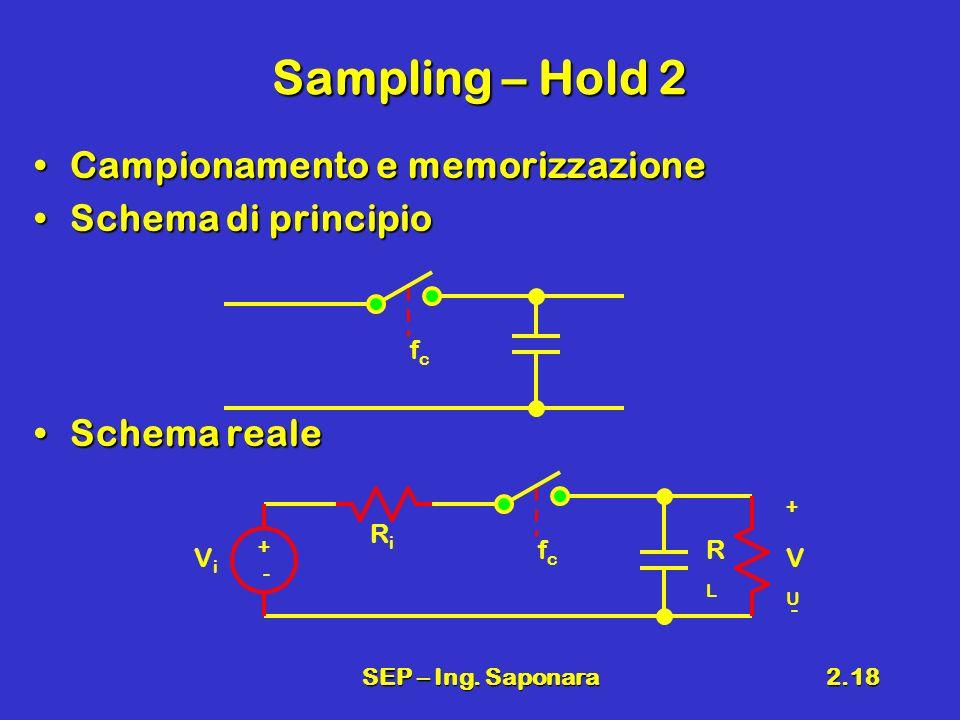 Sampling – Hold 2 Campionamento e memorizzazione Schema di principio