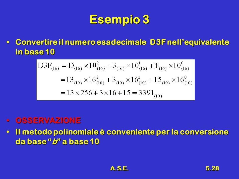 Esempio 3 Convertire il numero esadecimale D3F nell'equivalente in base 10. OSSERVAZIONE.