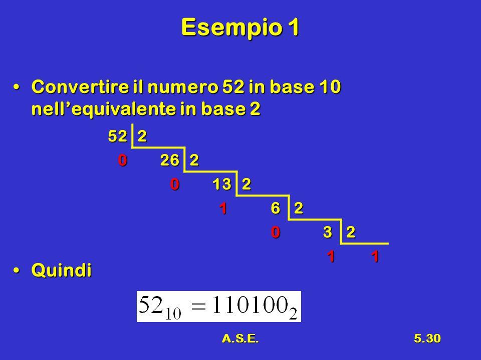 Esempio 1 Convertire il numero 52 in base 10 nell'equivalente in base 2. Quindi. 52. 2. 26. 13.