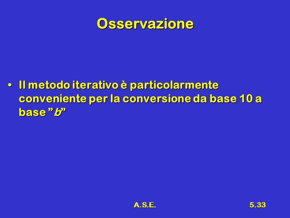 Osservazione Il metodo iterativo è particolarmente conveniente per la conversione da base 10 a base b
