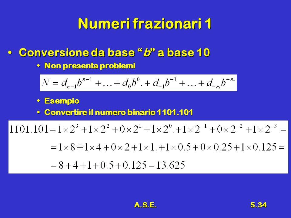 Numeri frazionari 1 Conversione da base b a base 10