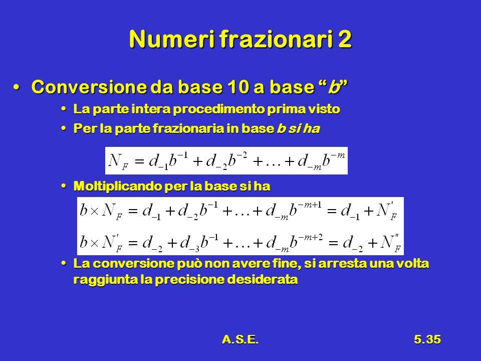 Numeri frazionari 2 Conversione da base 10 a base b