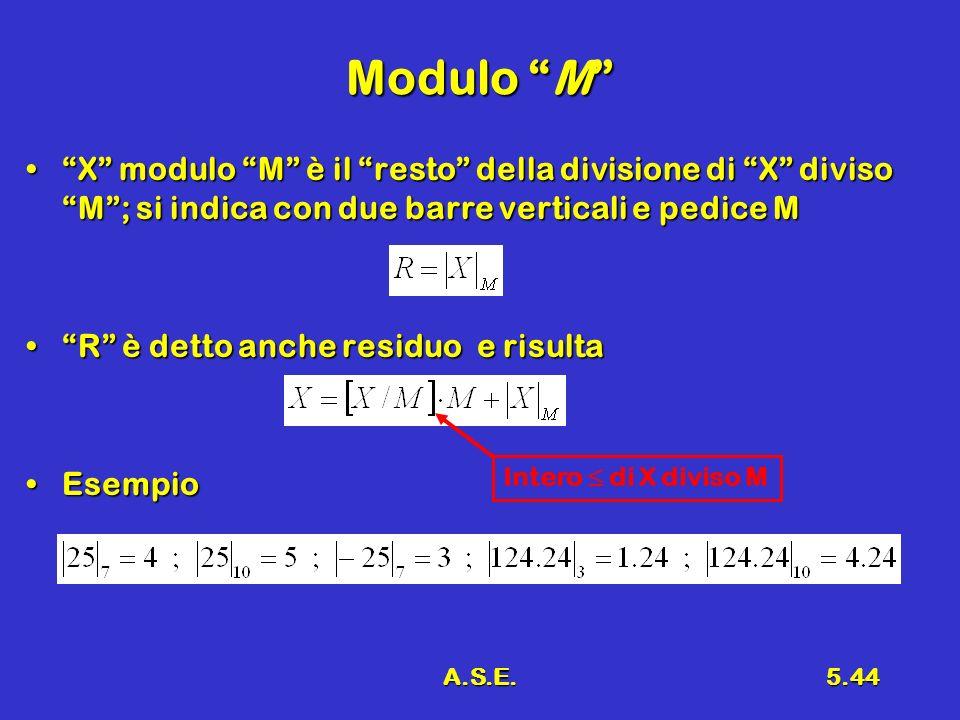 Modulo M X modulo M è il resto della divisione di X diviso M ; si indica con due barre verticali e pedice M.